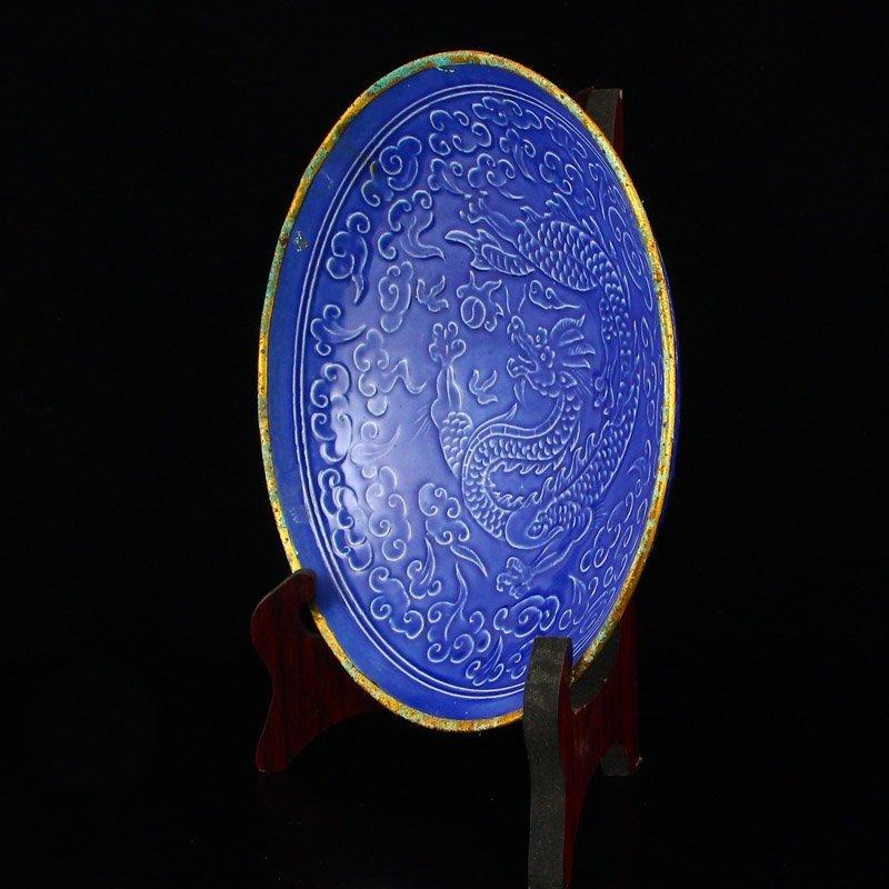 Chinese Gilt Edge Blue Glaze Ding Kiln Porcelain Plate - 4