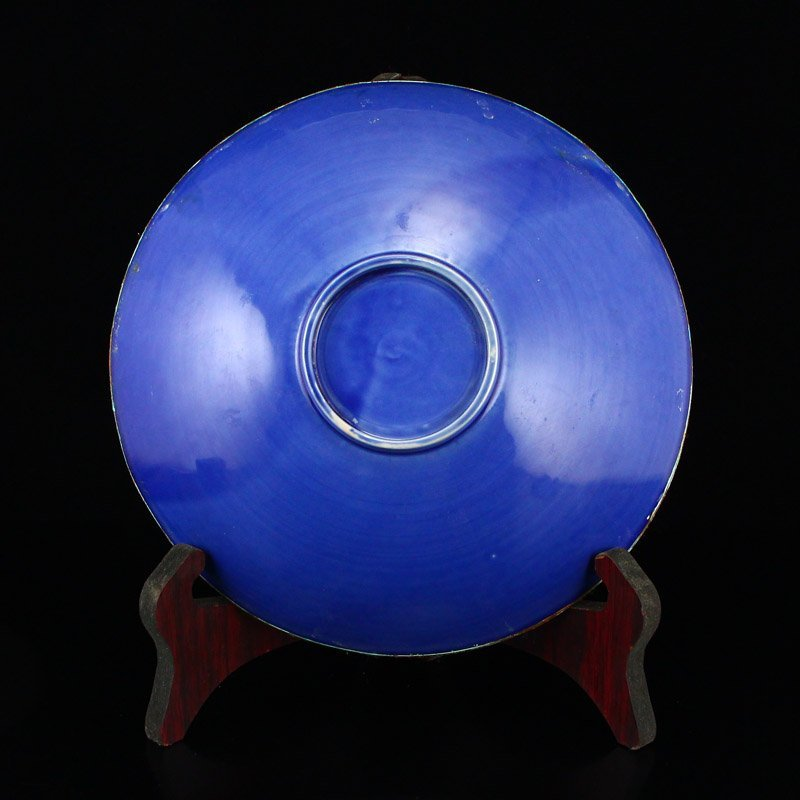 Chinese Gilt Edge Blue Glaze Ding Kiln Porcelain Plate - 5