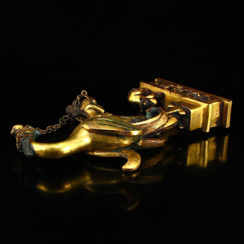 Chinese Liao Dynasty Gilt Gold Bronze Candlestick - 6
