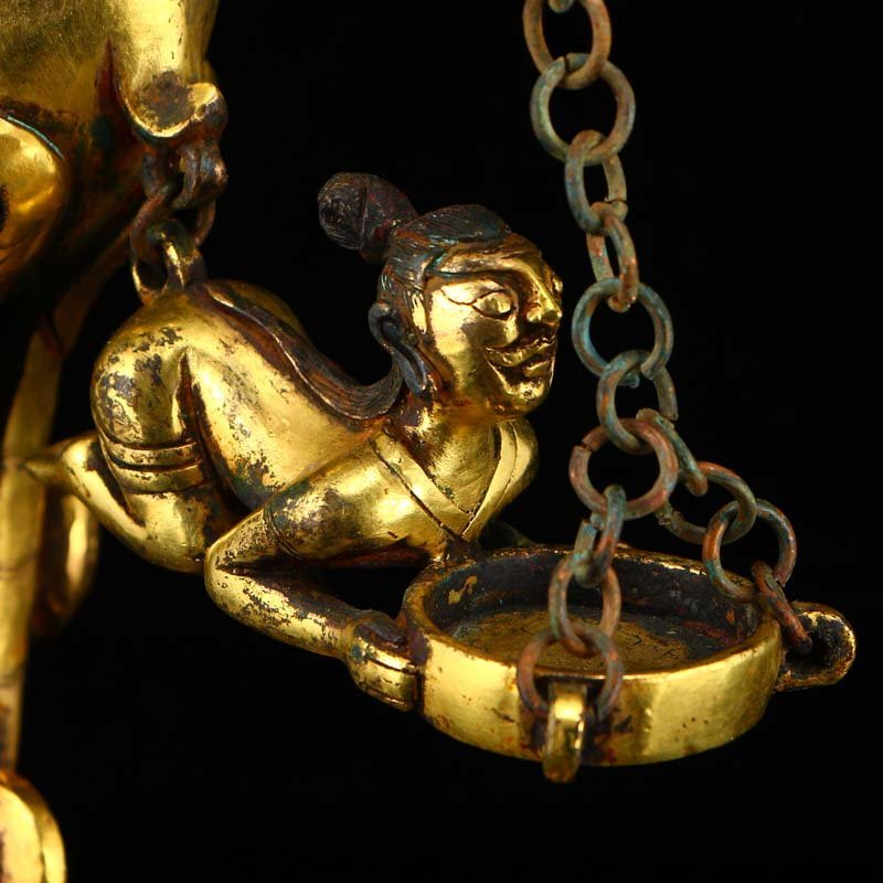 Chinese Liao Dynasty Gilt Gold Bronze Candlestick - 7