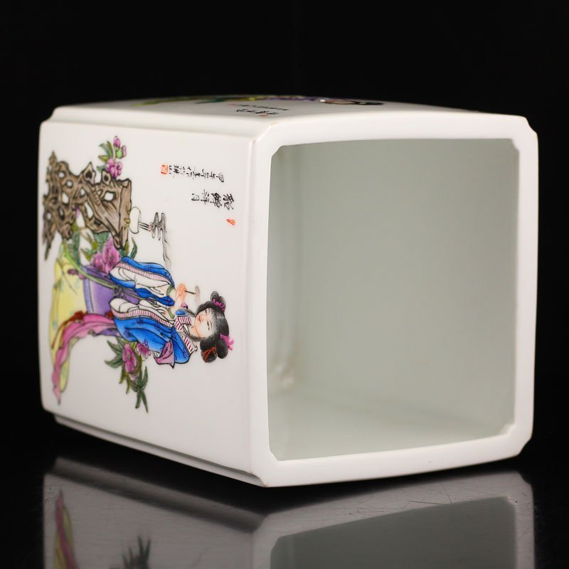 Chinese Qing Dy Famille Rose Porcelain Square Brush Pot - 5