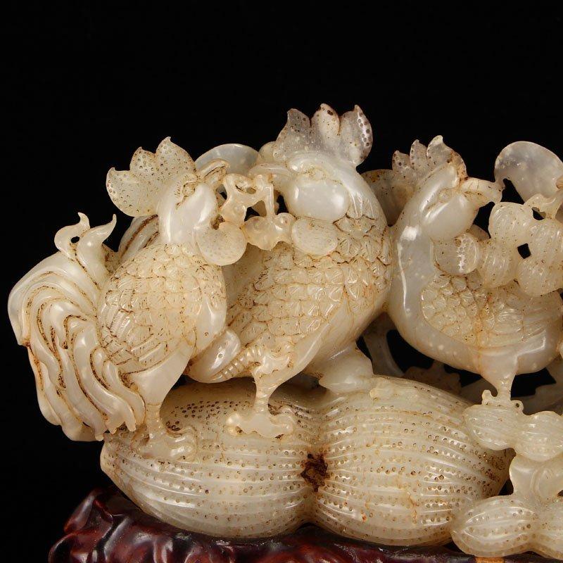Vintage Chinese Hetian Jade Statue - Roosters & Peanuts - 8
