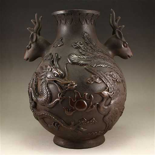 Chinese Red Copper Deer Heads Dragon Phoenix Vase