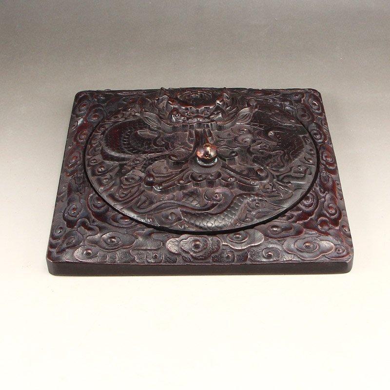 Vintage Chinese Zitanwood Wood Low Relief Inkstone