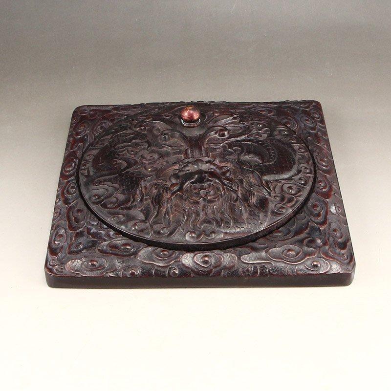 Vintage Chinese Zitanwood Wood Low Relief Inkstone - 3