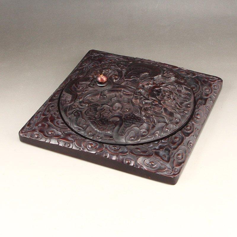 Vintage Chinese Zitanwood Wood Low Relief Inkstone - 4