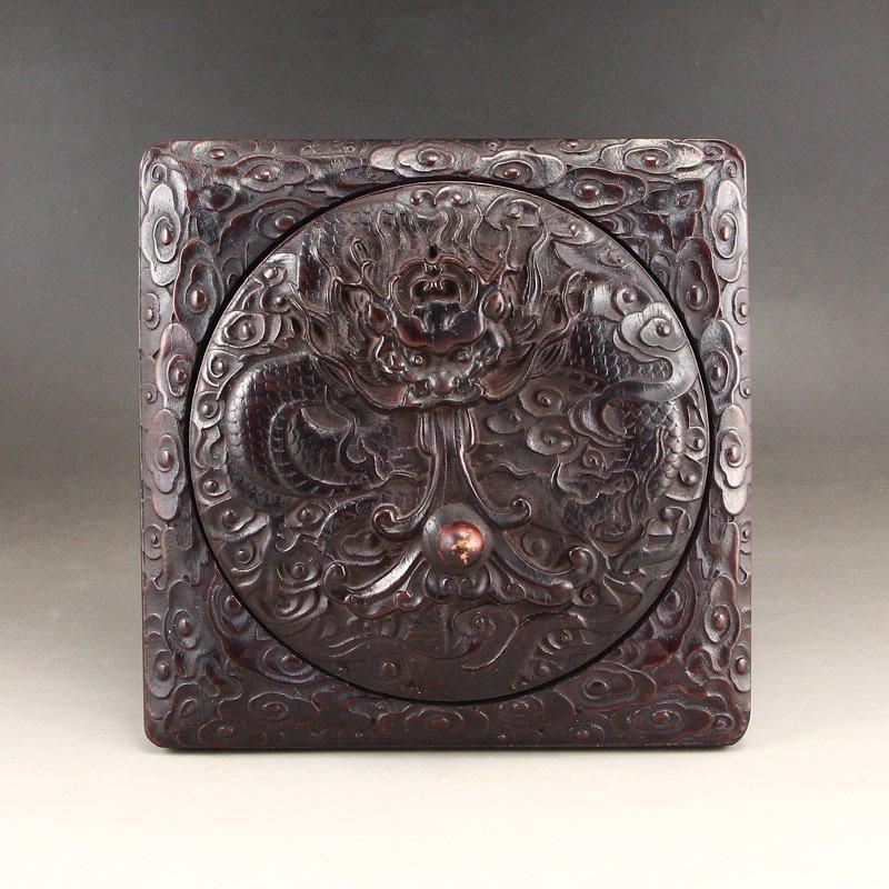 Vintage Chinese Zitanwood Wood Low Relief Inkstone - 5