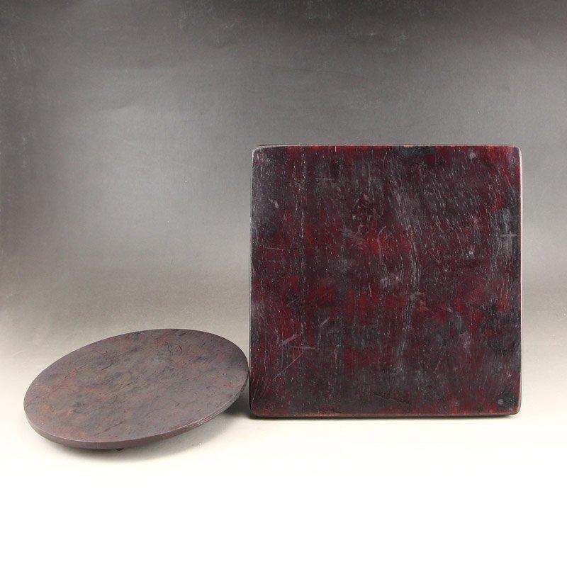 Vintage Chinese Zitanwood Wood Low Relief Inkstone - 6
