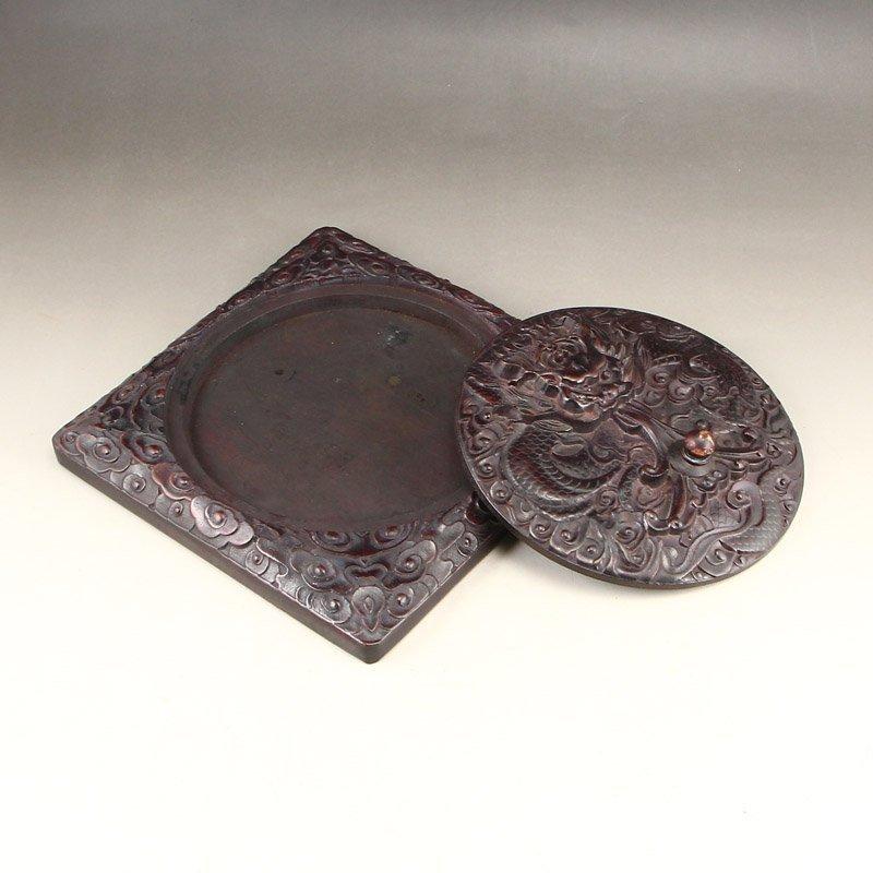 Vintage Chinese Zitanwood Wood Low Relief Inkstone - 7