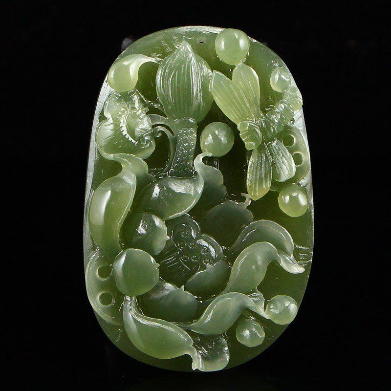 Natural Green Hetian Jade Pendant - Lotus Flower