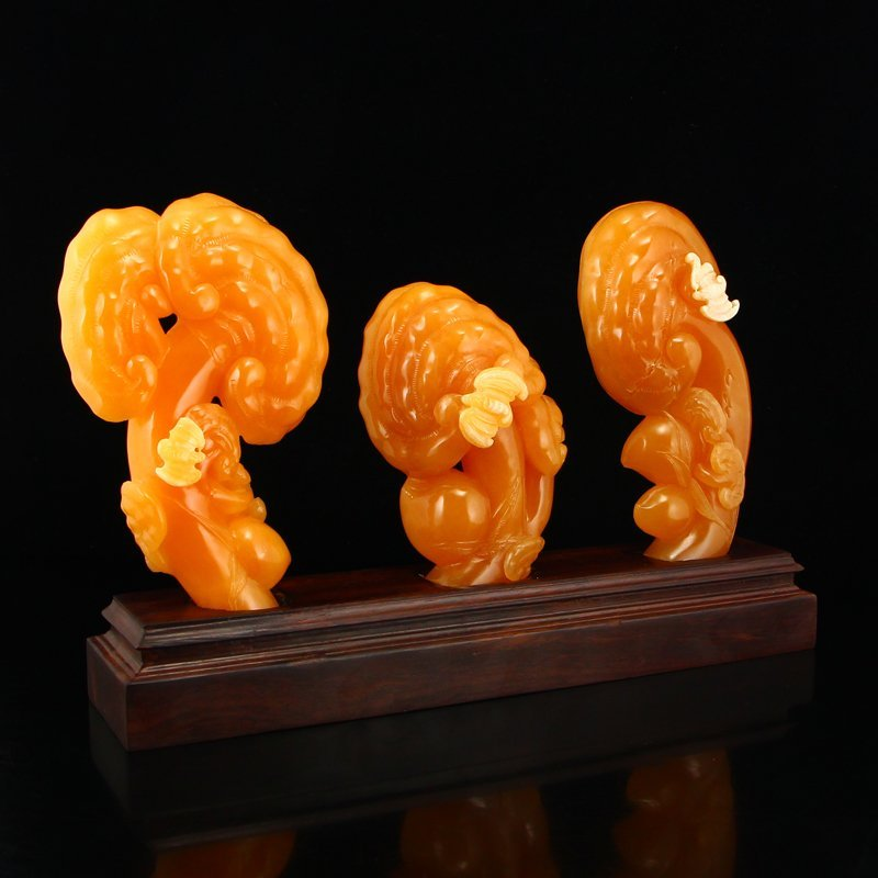 A Set Indonesia Natural Jin Tian Huang Ruyi Statue - 3
