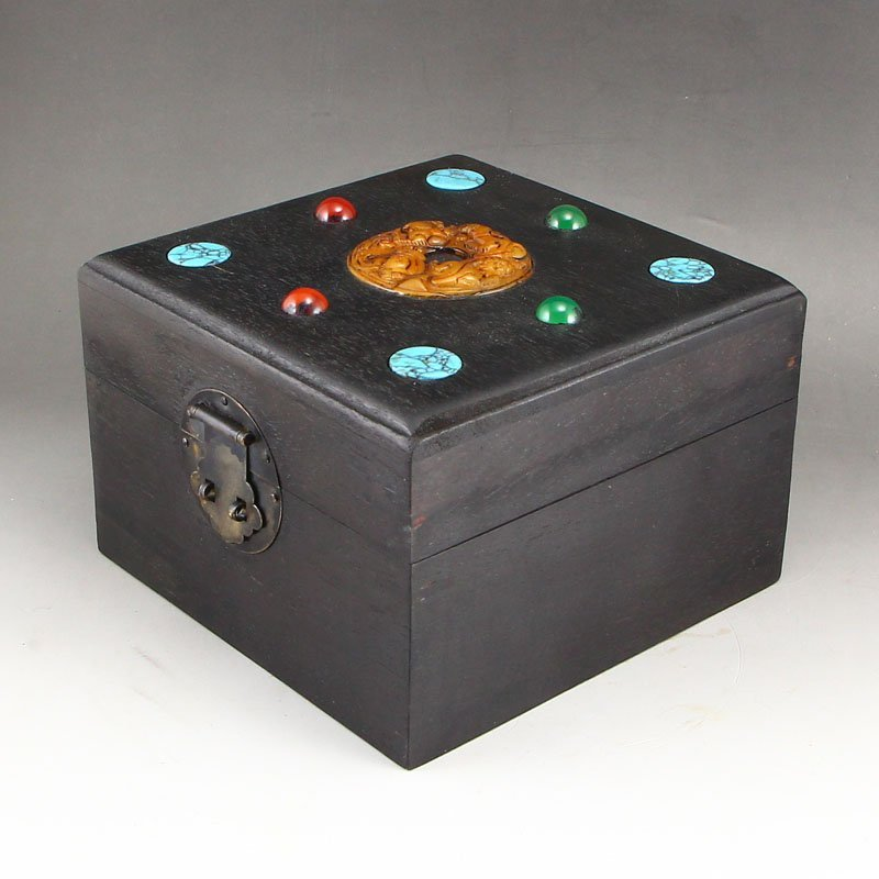 Vintage Zitan Wood Inlay Jade & Gems Jewelry Box