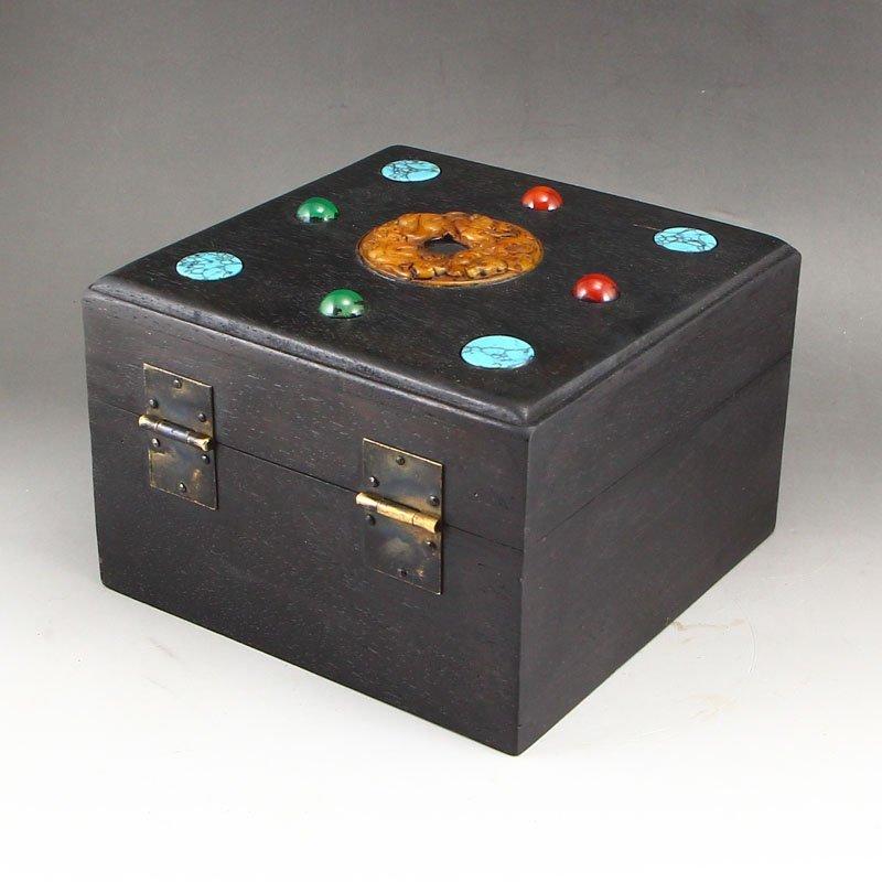 Vintage Zitan Wood Inlay Jade & Gems Jewelry Box - 2