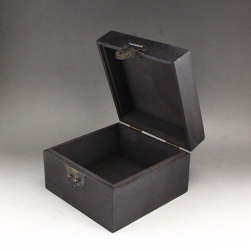 Vintage Zitan Wood Inlay Jade & Gems Jewelry Box - 5