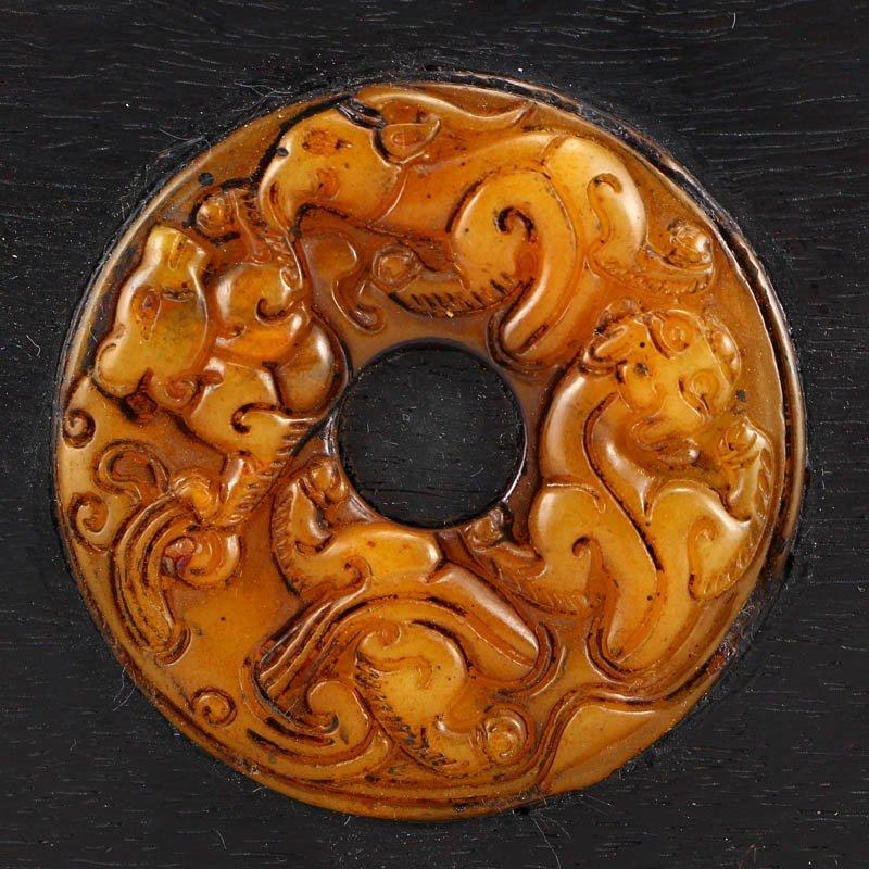 Vintage Zitan Wood Inlay Jade & Gems Jewelry Box - 6