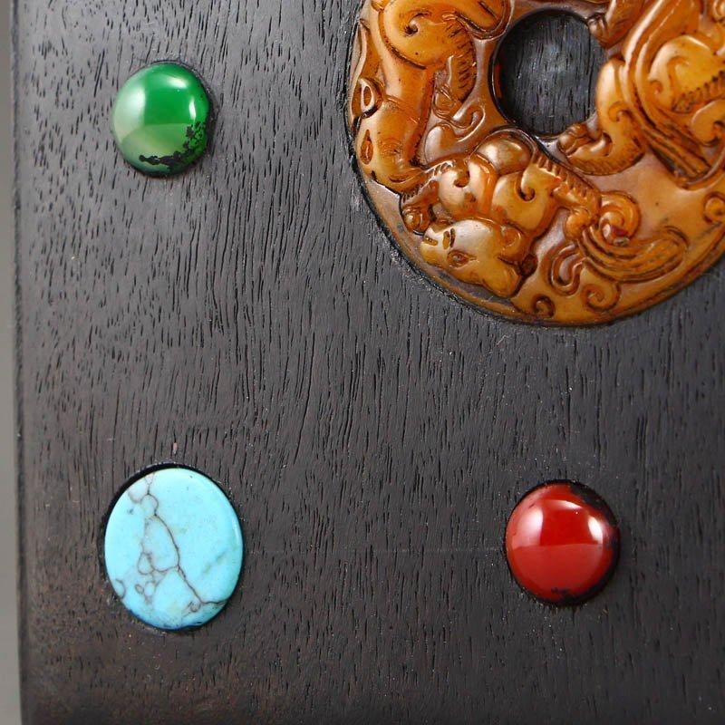 Vintage Zitan Wood Inlay Jade & Gems Jewelry Box - 7