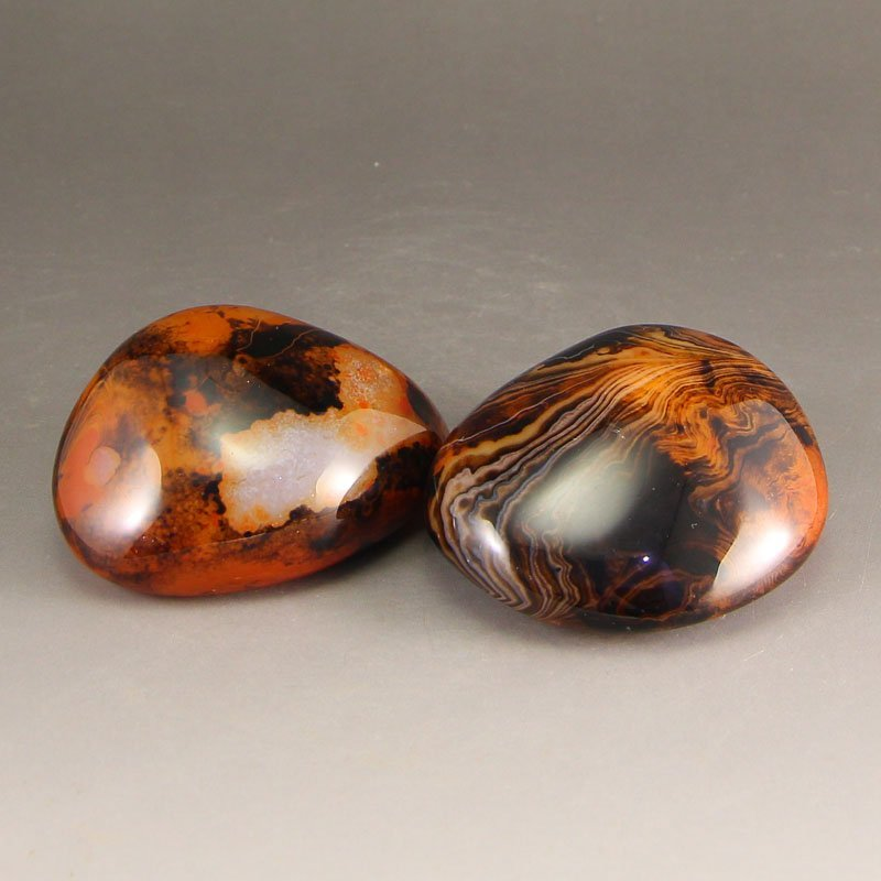A Pair Chinese Natural Agate Original Stone