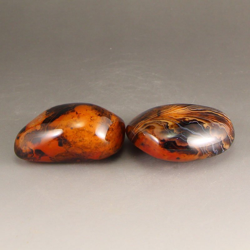 A Pair Chinese Natural Agate Original Stone - 2