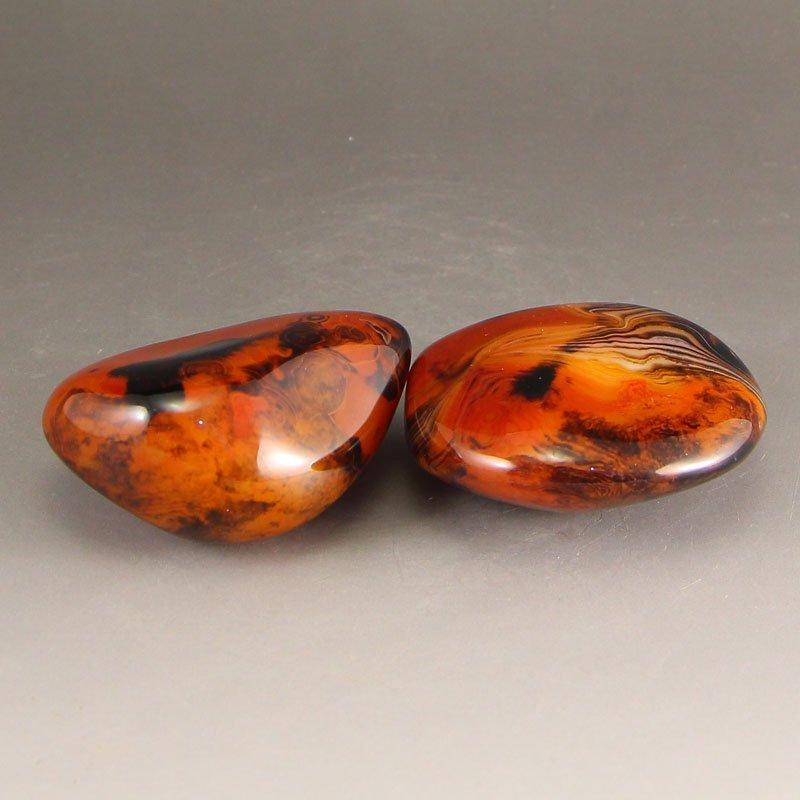 A Pair Chinese Natural Agate Original Stone - 4