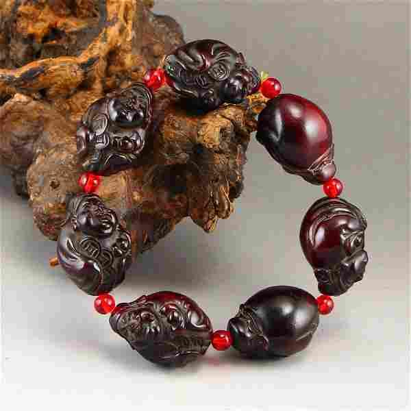 Vintage Ox Horn Fortune Taoism Deity Beads Bracelet