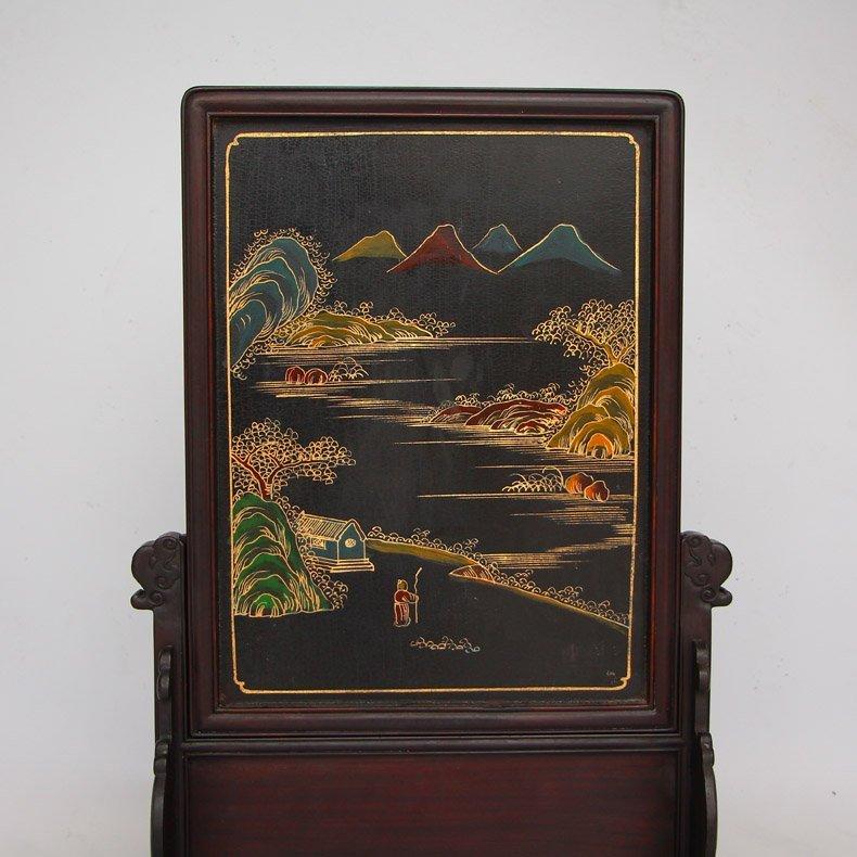 Chinese Zitan Wood Lacquerware Inlay Shells Gems Screen - 10