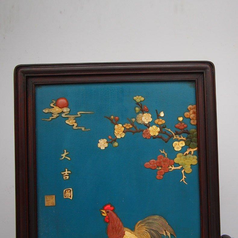 Chinese Zitan Wood Lacquerware Inlay Shells Gems Screen - 3