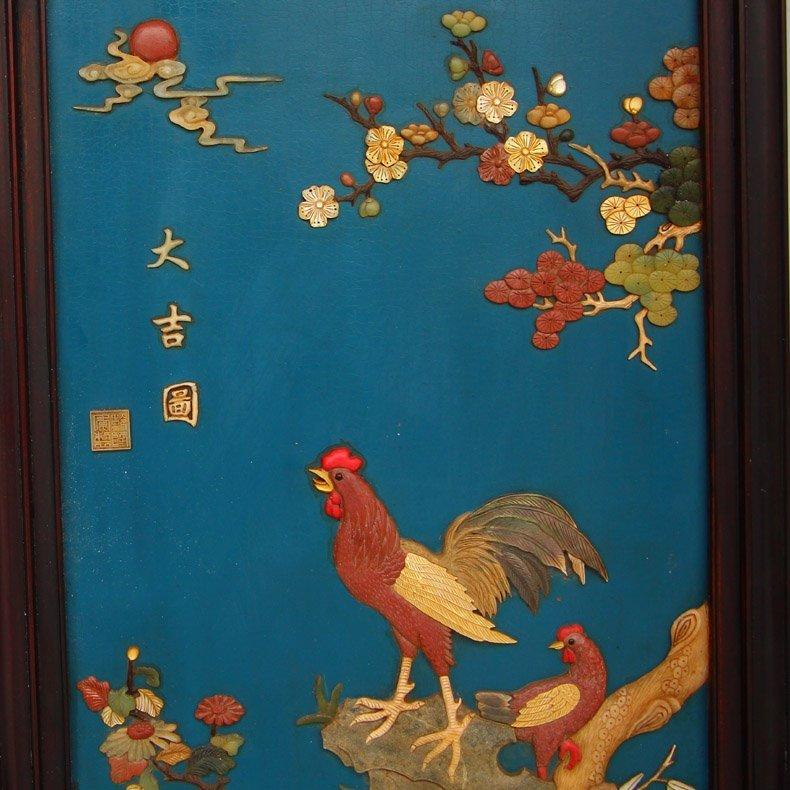 Chinese Zitan Wood Lacquerware Inlay Shells Gems Screen - 4