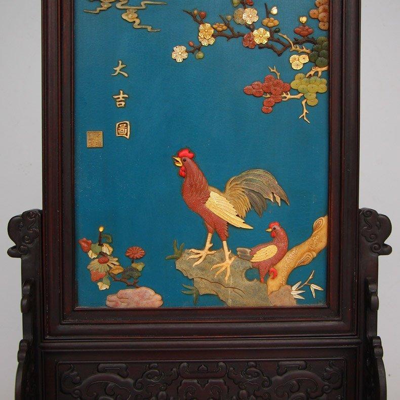 Chinese Zitan Wood Lacquerware Inlay Shells Gems Screen - 5