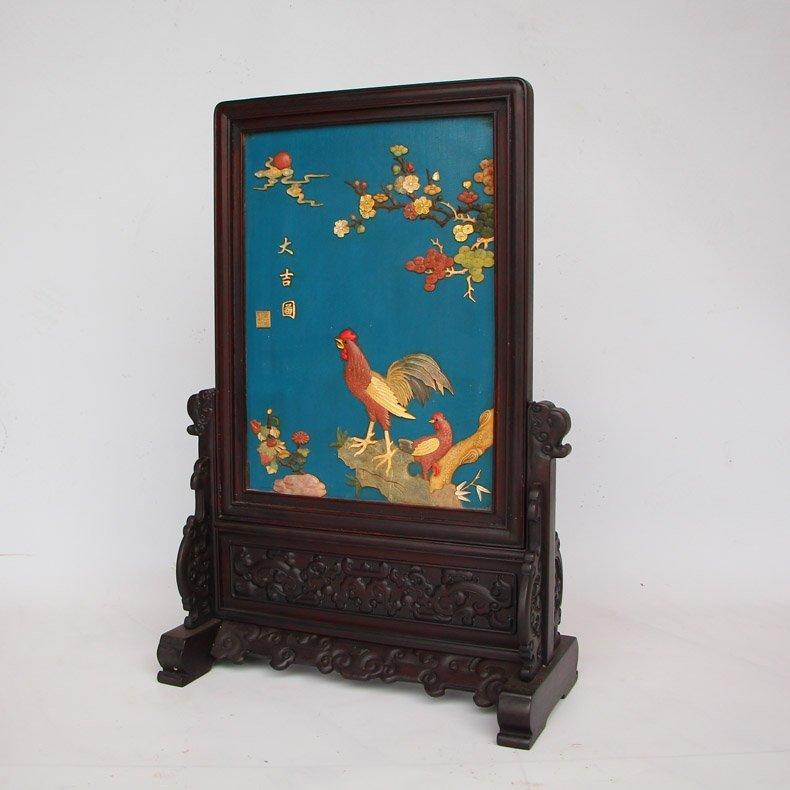 Chinese Zitan Wood Lacquerware Inlay Shells Gems Screen - 8