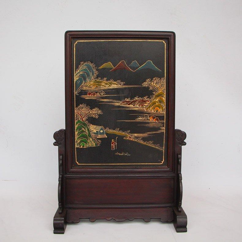Chinese Zitan Wood Lacquerware Inlay Shells Gems Screen - 9