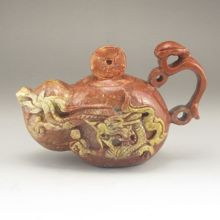Hand Carved Chinese Natural Shoushan Stone Teapot