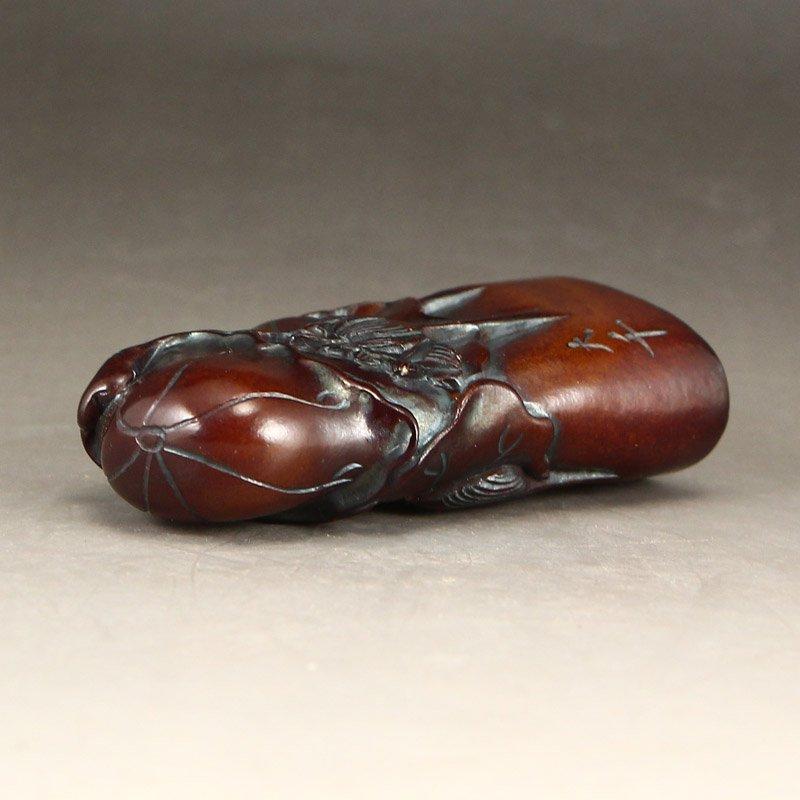Vintage Chinese Shoushan Stone Seal w Lotus Flower - 5