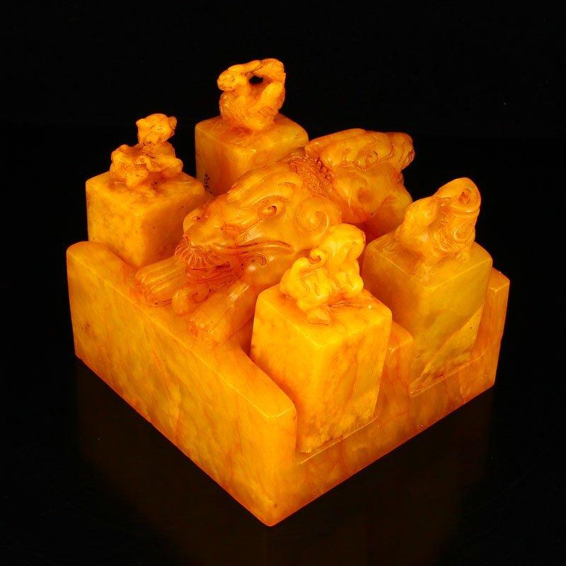 Set Superb Chinese Shoushan Stone Tianhuang Stone Seals - 2
