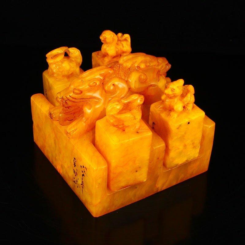Set Superb Chinese Shoushan Stone Tianhuang Stone Seals - 3