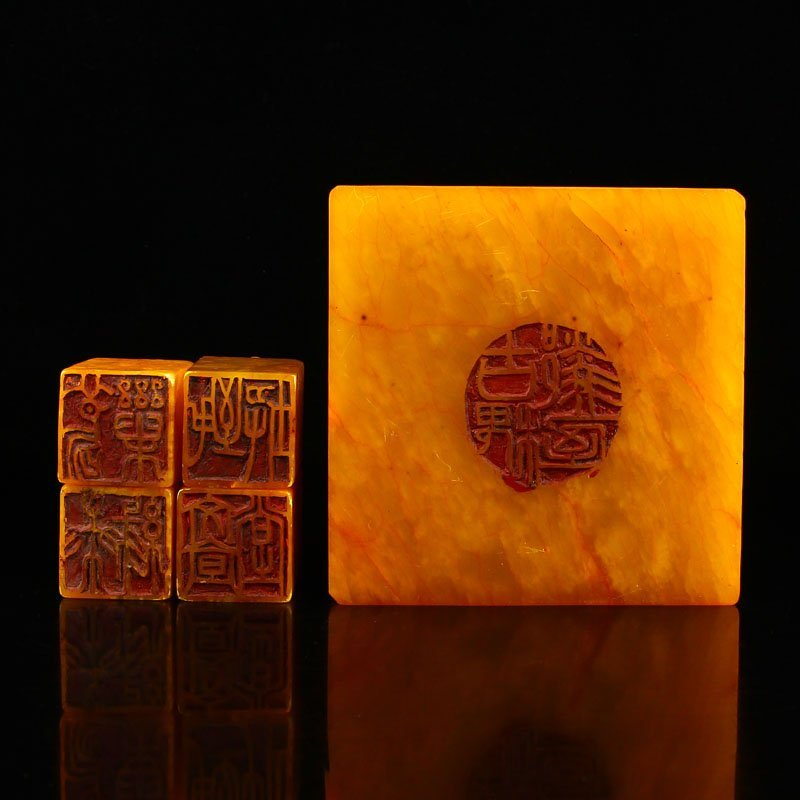 Set Superb Chinese Shoushan Stone Tianhuang Stone Seals - 6