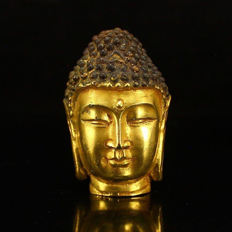 Chinese Gilt Gold Bronze Buddha Head Statue