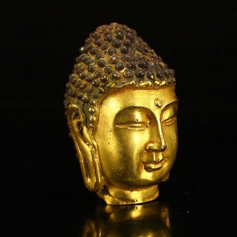 Chinese Gilt Gold Bronze Buddha Head Statue - 2