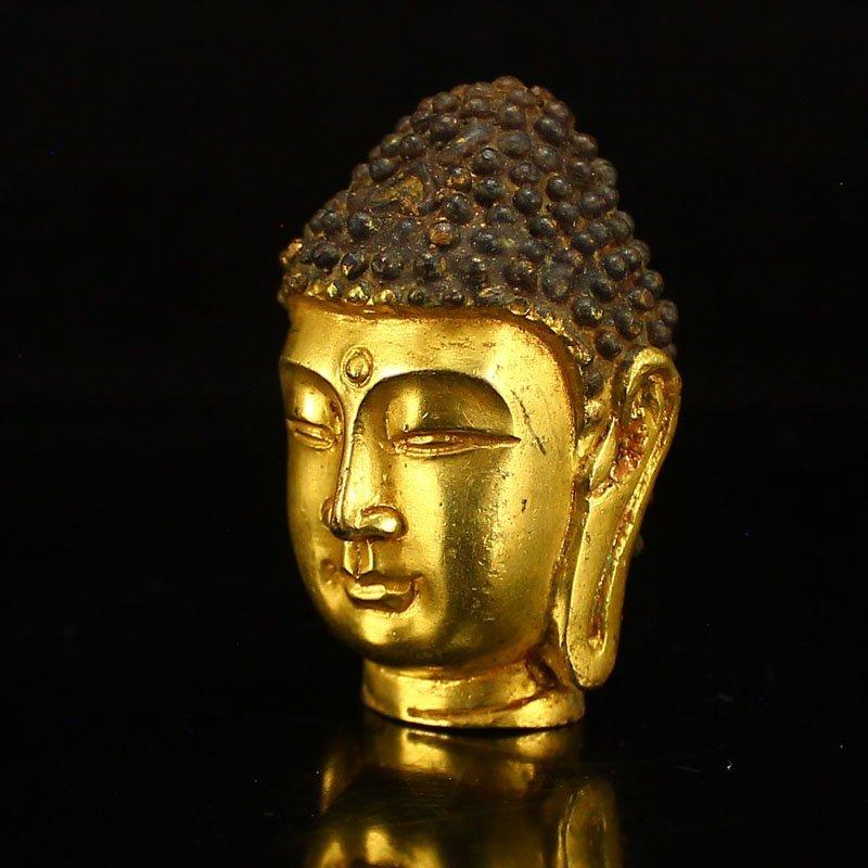 Chinese Gilt Gold Bronze Buddha Head Statue - 3