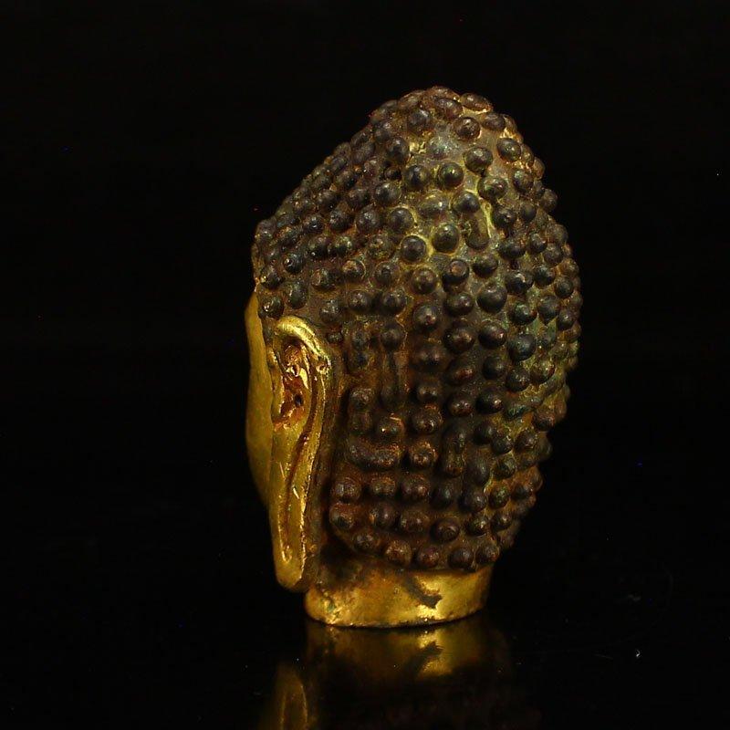 Chinese Gilt Gold Bronze Buddha Head Statue - 4