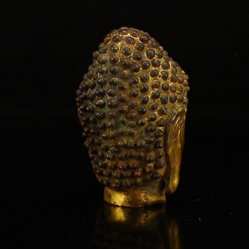 Chinese Gilt Gold Bronze Buddha Head Statue - 5