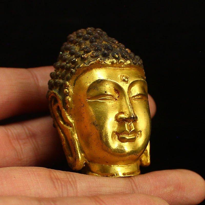 Chinese Gilt Gold Bronze Buddha Head Statue - 6