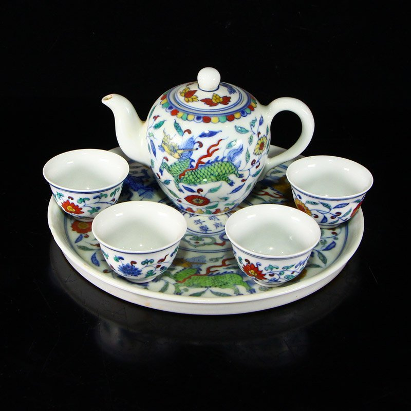 Set Chinese  Doucai Porcelain Teapot & Cups w Tea Tray