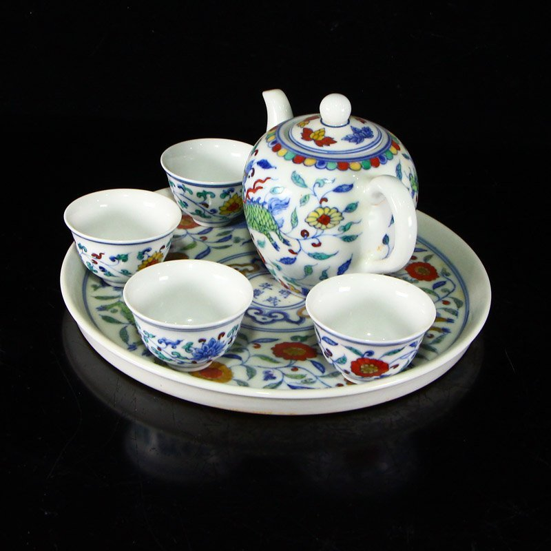 Set Chinese  Doucai Porcelain Teapot & Cups w Tea Tray - 2