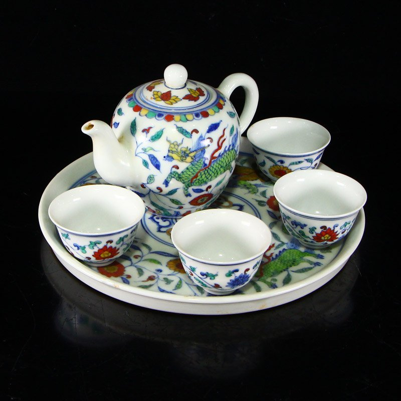 Set Chinese  Doucai Porcelain Teapot & Cups w Tea Tray - 3