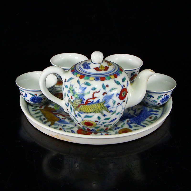 Set Chinese  Doucai Porcelain Teapot & Cups w Tea Tray - 4