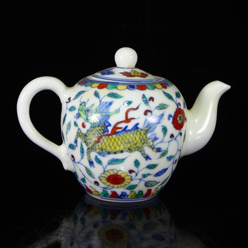 Set Chinese  Doucai Porcelain Teapot & Cups w Tea Tray - 5