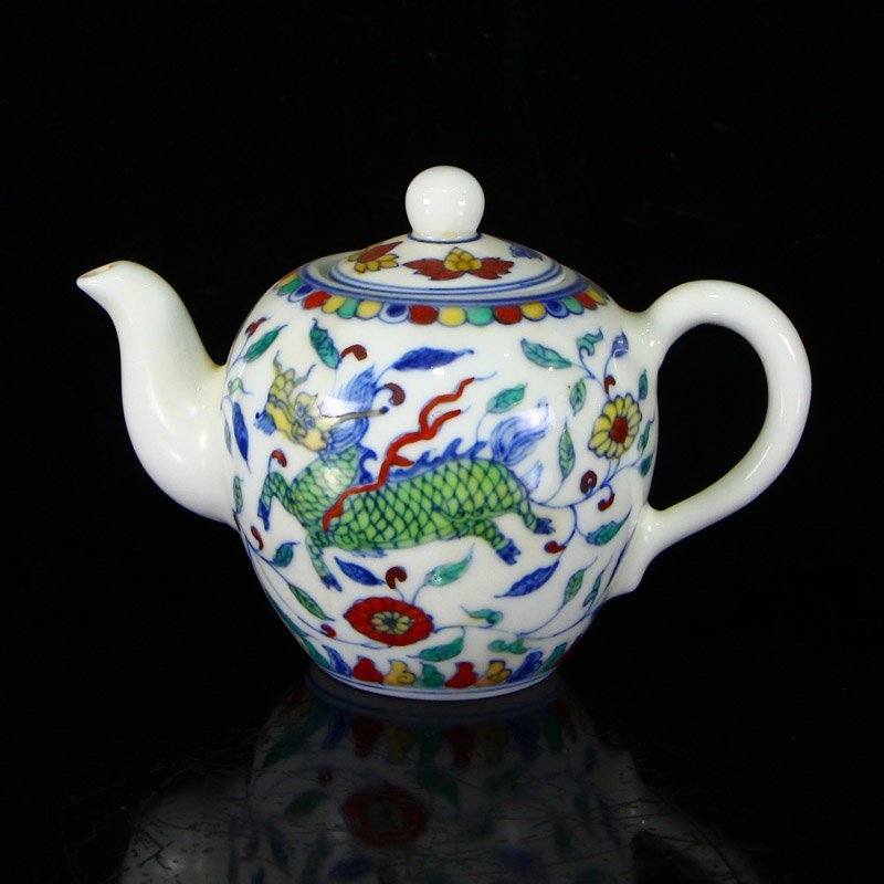 Set Chinese  Doucai Porcelain Teapot & Cups w Tea Tray - 6