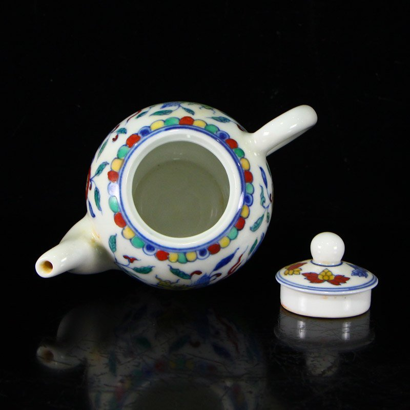 Set Chinese  Doucai Porcelain Teapot & Cups w Tea Tray - 7