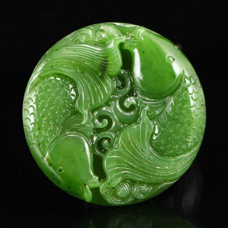 Chinese Natural Green Hetian Jade Double Fish Pendant