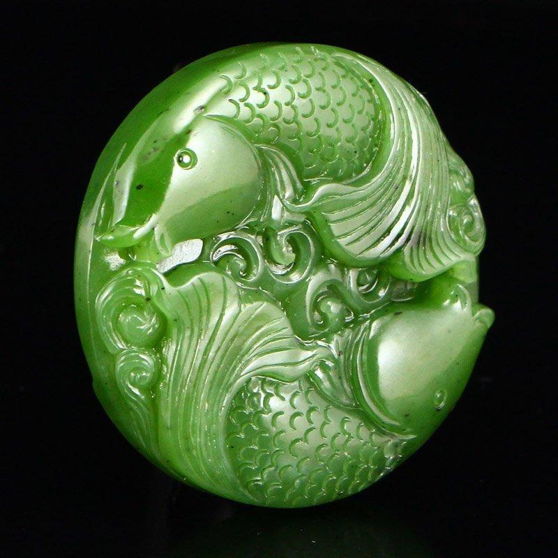 Chinese Natural Green Hetian Jade Double Fish Pendant - 2